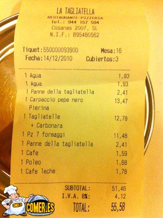 cuenta restaurante bilbao