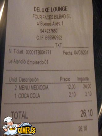 cuenta factura de deluxe lounge bilbao