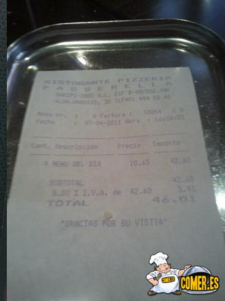 factura del restaurante
