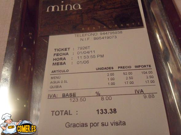 nota factura del restaurante