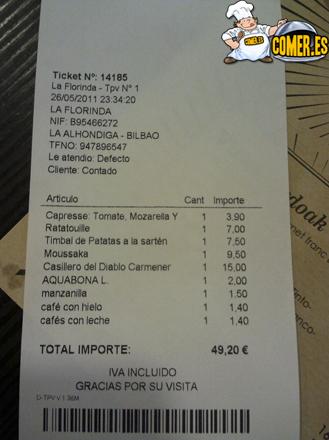 cuenta del restaurante en la Alhóndiga Bilbao