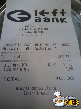 nota factura del restaurante de bilbao en zubiarte