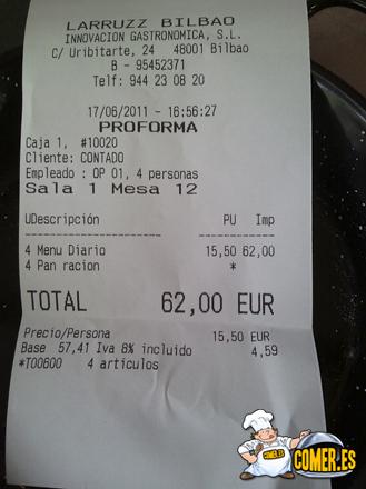 nota factura del restaurante especializado en arroces junto a la ría de Bilbao