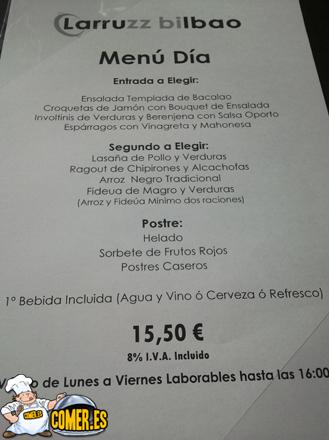 opciones del restaurante especializado en arroces junto a la ría de Bilbao